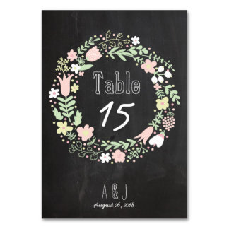 Bohoの花のリースの素朴な黒板の結婚式 カード