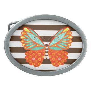 Bohoの蝶はの-ベルトの留め金を縞で飾ります 卵形バックル