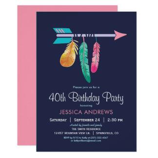 Bohoの誕生日のパーティの招待状 カード