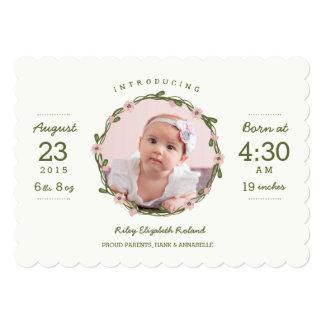 Bohoの赤ん坊の誕生の発表 12.7 X 17.8 インビテーションカード