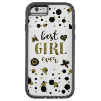 Bohoの金黒の点の紙吹雪の最も最高のな女の子の春 Tough Xtreme iPhone 6 ケース