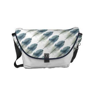 Bohoの青い羽 メッセンジャーバッグ