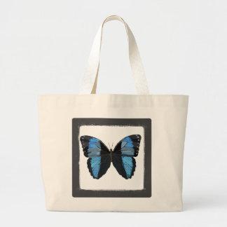 Bohoの青い蝶芸術のバッグ ラージトートバッグ