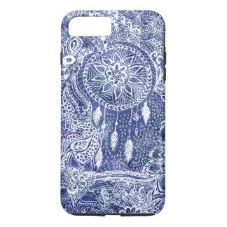 Bohoの青いdreamcatcherは花の落書きに羽をつけます iPhone 8 Plus/7 Plusケース