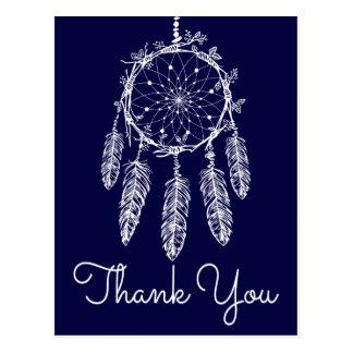 Bohoの青は夢のキャッチャーのネイティブアメリカン感謝していしています ポストカード