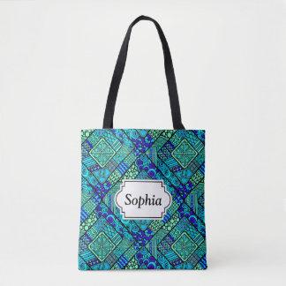 Bohoの青緑の抽象的な種族パターン トートバッグ