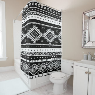 Bohoの黒く及び白く幾何学的なパターン シャワーカーテン