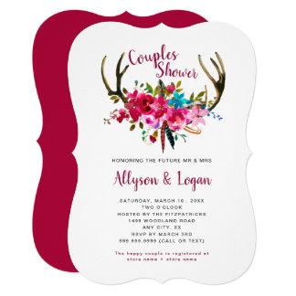 Bohoの(雄ジカの)枝角の赤紫のピンクの花のカップルのシャワー カード