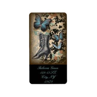 bohoのchicfloral蝶ヴィンテージのビクトリア時代の人の靴 ラベル