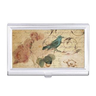 bohoばら色のパリは植物のフランスのな鳥の台本を書きます 名刺入れ
