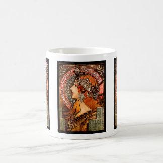 Bohoアールヌーボーのミュシャの女性 コーヒーマグカップ