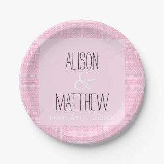 Bohoシックで名前入りなピンクの結婚式の紙皿2 ペーパープレート