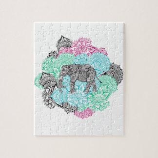 Bohoペーズリー象の手描きのパステル調の花柄 ジグソーパズル