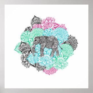 Bohoペーズリー象の手描きのパステル調の花柄 ポスター