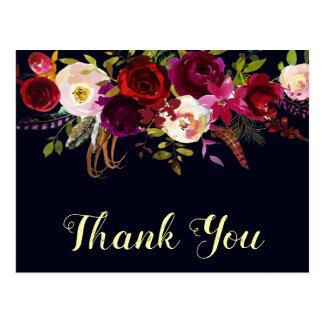 Boho花のバーガンディ海軍秋の結婚式は感謝していしています ポストカード