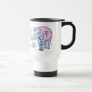 Boho象のパステル調の花の名前をカスタムするのイニシャル トラベルマグ