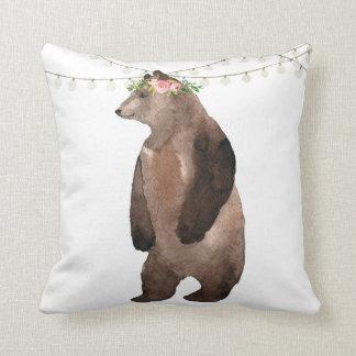 Boho Bear Woodland Watercolor Baby Nursery Pillow クッション