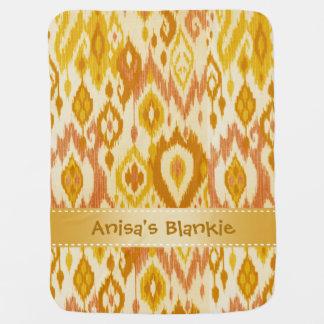 Boho Blankieのマスタードの黄色の日焼けのイカットのタペストリー ベビー ブランケット