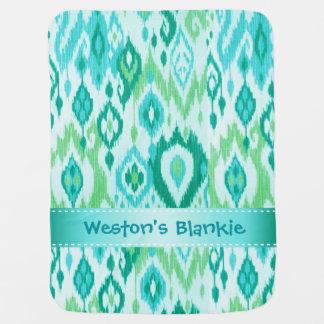 Boho Blankieの水のミントの青いイカットのタペストリー ベビー ブランケット