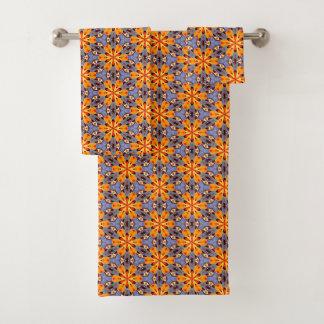 Boho Chic Floral Pattern Orange Yellow Red Purple バスタオルセット