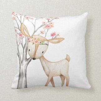 Boho Deer Woodland Floral Baby Nursery Pillow クッション