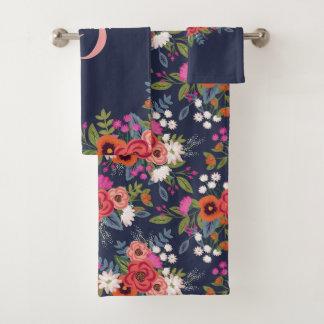 Boho Floral Bouquet - Navy Blue & Pink Monogram バスタオルセット