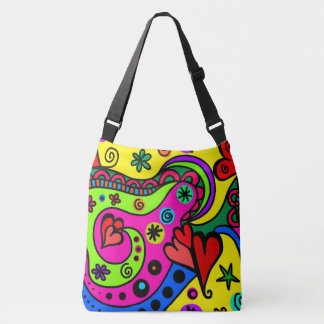 Boho Hippie Colorful Psychedelic Design Hearts クロスボディバッグ