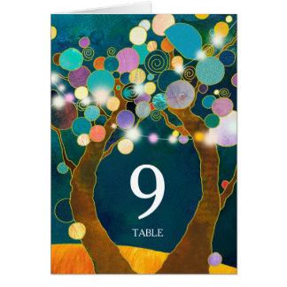 Boho Love Trees Teal Wedding Table Number カード