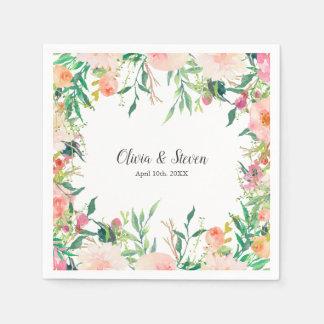 Boho Watercolor Floral Personalized Wedding スタンダードカクテルナプキン