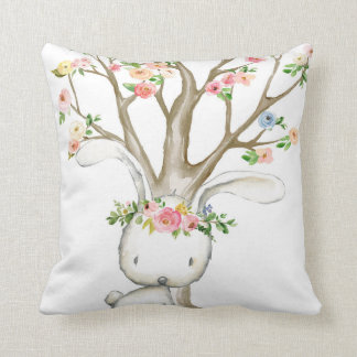 Boho Woodland Bunny Floral Baby Nursery Pillow クッション