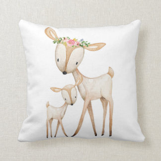 Boho Woodland Deer Nursery Floral Baby Pillow クッション