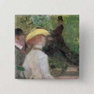 Bois deブローニュ1901年では(キャンバスの油) 5.1cm 正方形バッジ