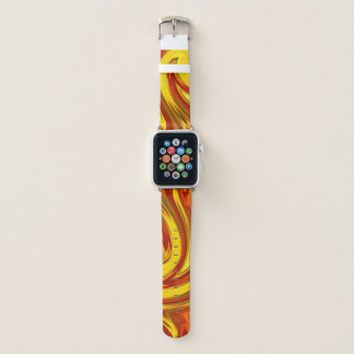 bold abstract swirling gold red orange apple watchバンド