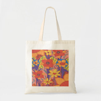 Bold Bohemian Orange Garden Print トートバッグ
