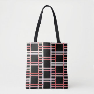 Bold Interlocking Red and White Rectangle Pattern トートバッグ