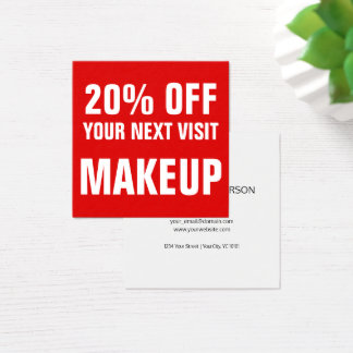 Bold Text Red and White Makeup Discount Coupon スクエア名刺