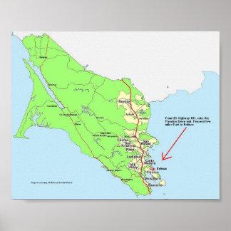Bolinasへの地図 ポスター