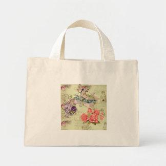 Bolsa vintage, flores, mariposas, rosas y pajarito ミニトートバッグ