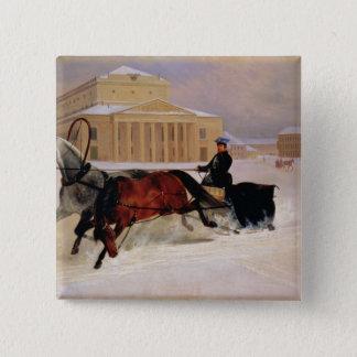 Bolshoiの跡の馬とのポーランド人の組 5.1cm 正方形バッジ