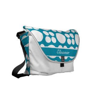 Bondiの青の名前入りで白いドット・パターン メッセンジャーバッグ