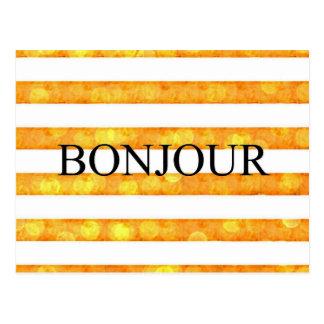 Bonjourのオレンジのストライプの《写真》ぼけ味 ポストカード