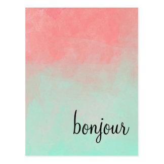 Bonjourのグラデーションな郵便はがき ポストカード