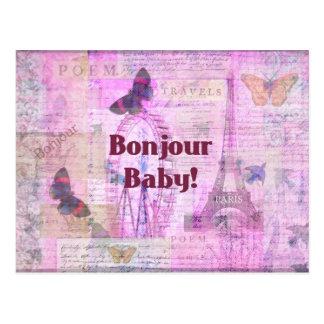 Bonjourのベビーフランスのな句のパリのテーマ ポストカード