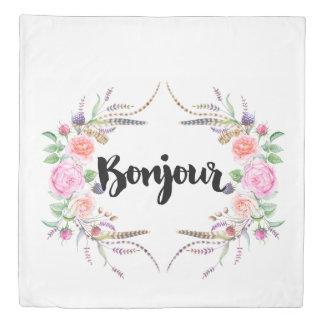 *Bonjourの水彩画の花の羽毛布団カバー 掛け布団カバー