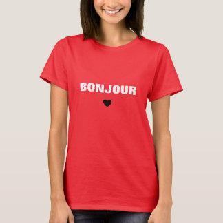 Bonjourの白のタイポグラフィ Tシャツ