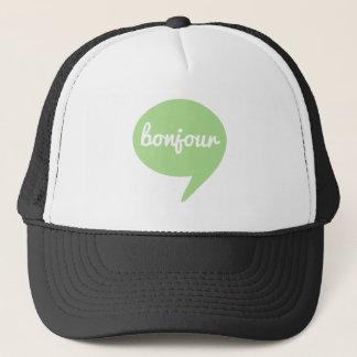 bonjourの緑のスピーチの泡、フランスのな単語の芸術 キャップ