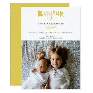 Bonjourの縦の誕生の発表カード カード