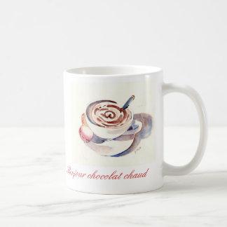 Bonjourのchocolatのchaud コーヒーマグカップ
