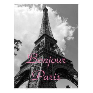 Bonjourパリの白黒のエッフェル塔フランス ポストカード