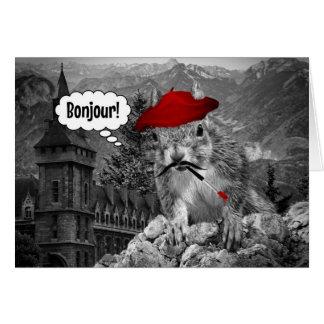 Bonjourリスのフランスのな芸術家! カード